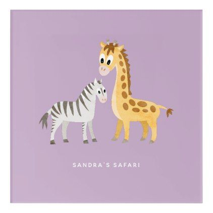 Baby Giraffe and Zebra Custom Color and Text Acrylic Print - birthday gifts party celebration custom gift ideas diy