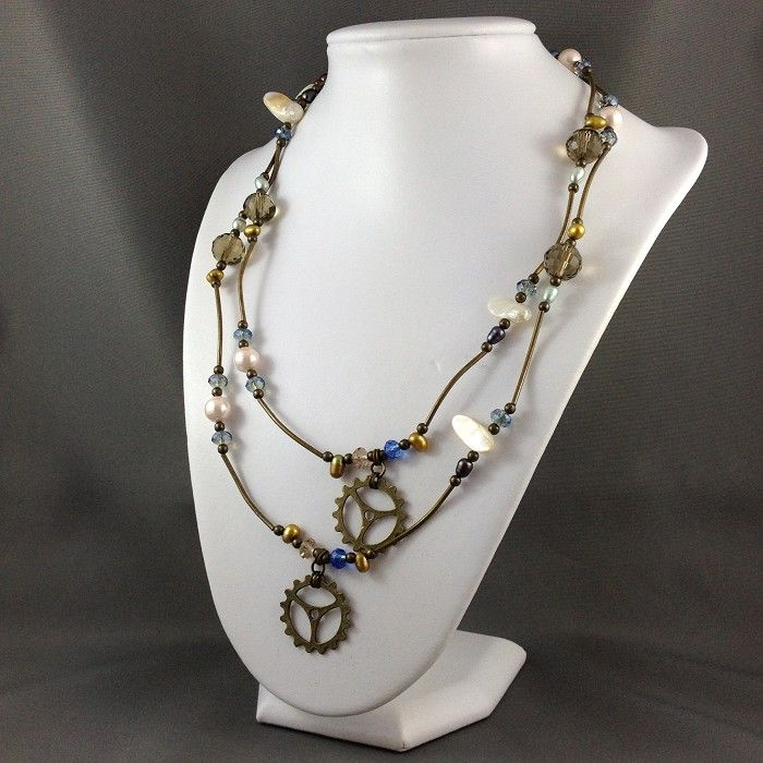 Steampunk Inspired Long Necklace with Cogs
