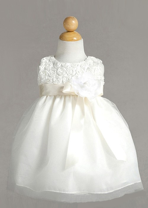 Pretty Ivory  Rose Top Infant Dress (for baptism)