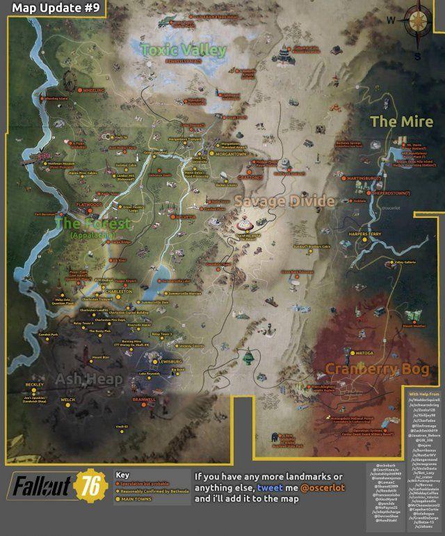 Fallout 76 - World Map | Fallout map, Fallout game, Fallout