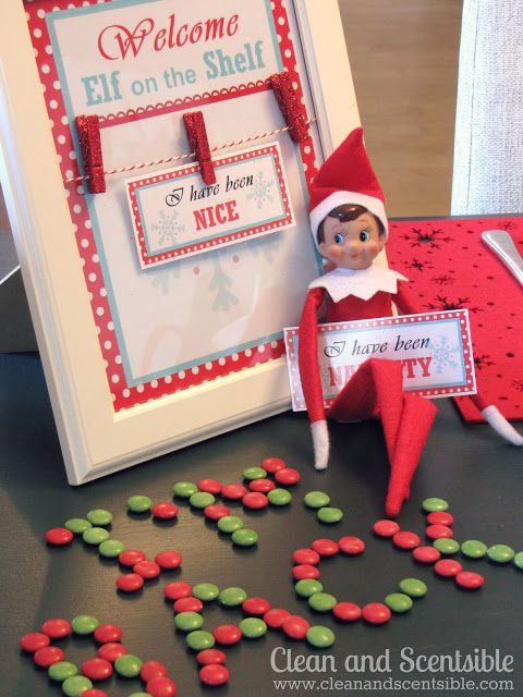 Elf on the Shelf ideas -Clean & Scentsible Love the naughty nice tags & the breakfast she did is Adorable!!!!!