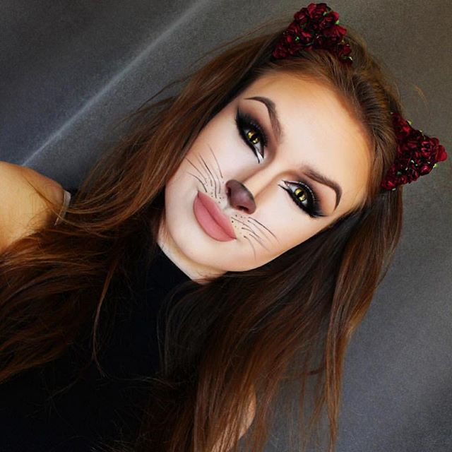 Cute kitty by @laura_leth super fun cute and easy costume idea. I did this last year since I'm not ...