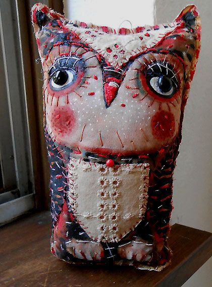 Original art doll folk art primitive Owl with black by miliaart