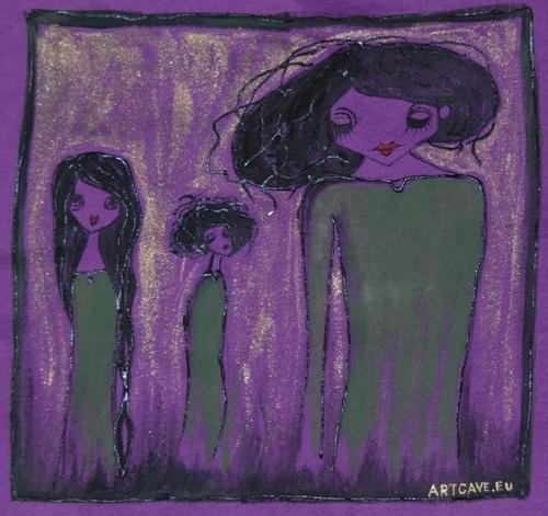 Koszulka Dziewczęca z ręcznie malowanym motywem - długi rękaw,  rozm 42