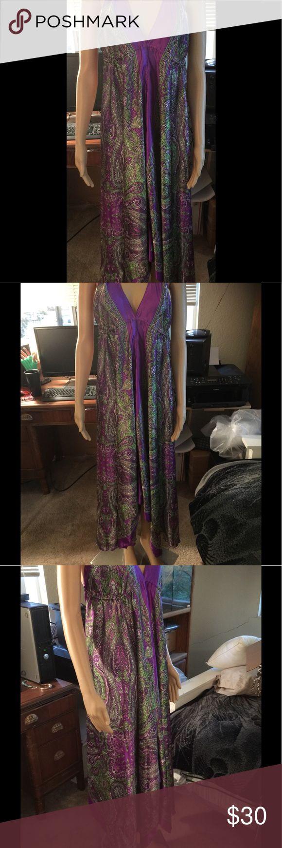 Xl Paisley Purple Satan Maxi Dress Stain Paisley Purple XL Dress Dresses Maxi