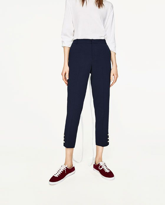 Image 2 of SKINNY TROUSERS WITH PEARLED DETAIL from Zara