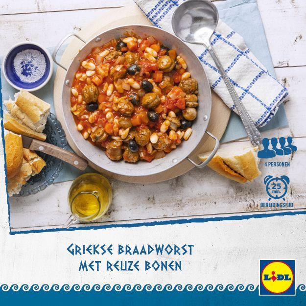 Heerlijk Grieks recept voor braadworst met reuze bonen #Lidl #Griekenland