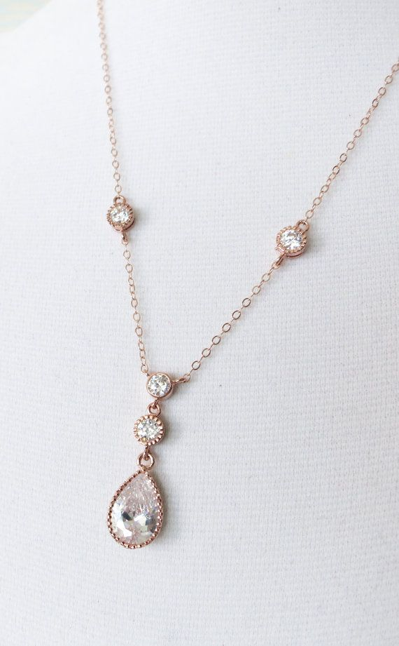 Rose Gold Cubic Zirconia Teardrop Necklace - Vintage style Necklace, rose gold filled chain, bridal gifts, drop, dangle, bridesmaid necklace, www.colormemissy.com
