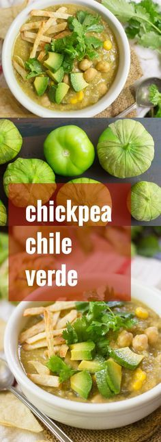 This zesty vegan chile verde is made with chickpeas and tomatillos simmered in a cumin spiced base. Serve it up with some crispy tortilla