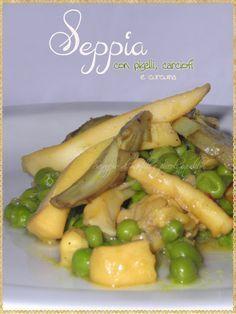 Seppia con piselli, carciofi e curcuma (Cuttlefish with peas, artichokes and turmeric)