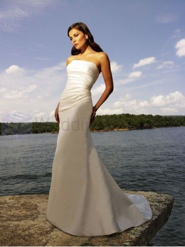 A-line Satin Ruched Bodice Strapless Neckline Sweep Train Wedding Dresses