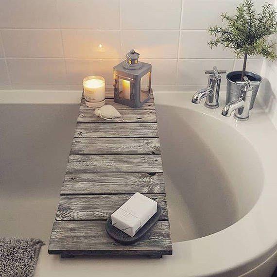 Wooden Handmade Bath Rack Marble Effect Bath Board Bath Tray Wine Glass Holder