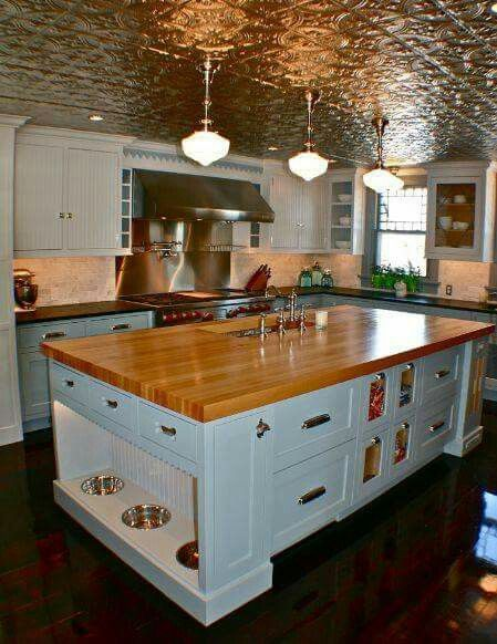 Tin Ceilings Butcher Block Topped Work Island Built In