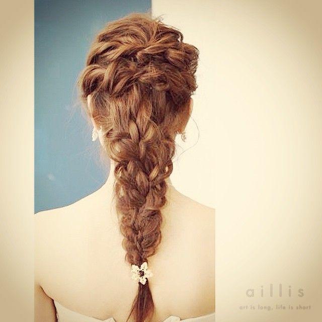 今日の練習♡  #ウェディングヘア #かわいいヘアアレンジ #weddinghair #hairdo #編み込みヘア#wedding #fashion