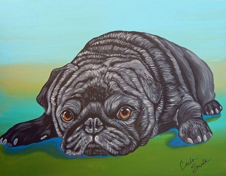Black Pug Dog Original Art Painting 11 X 14 Inches Deep Set
