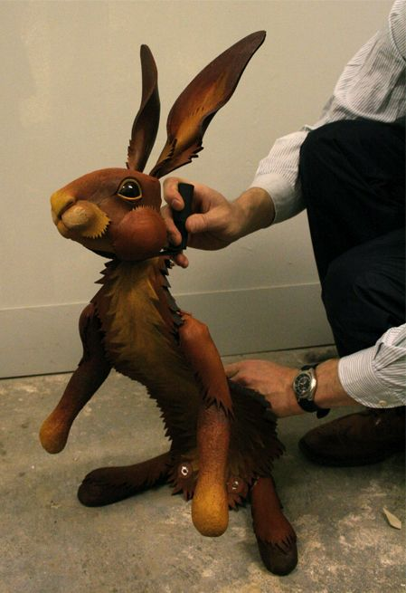 """Hester the Hair puppet from a production His Dark Materials. """"We did! Back off!"""" @Sarah Chintomby T"""