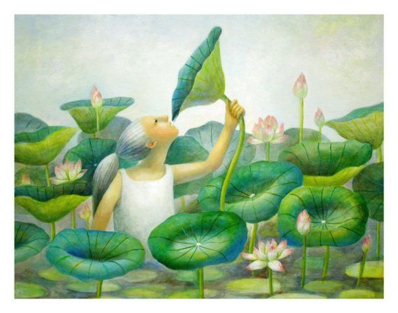 Dew Drops Of Lotus Leaf   by Natsuo Ikegami. Her artwork is available from Chanabean and from kushun55 on Etsy.