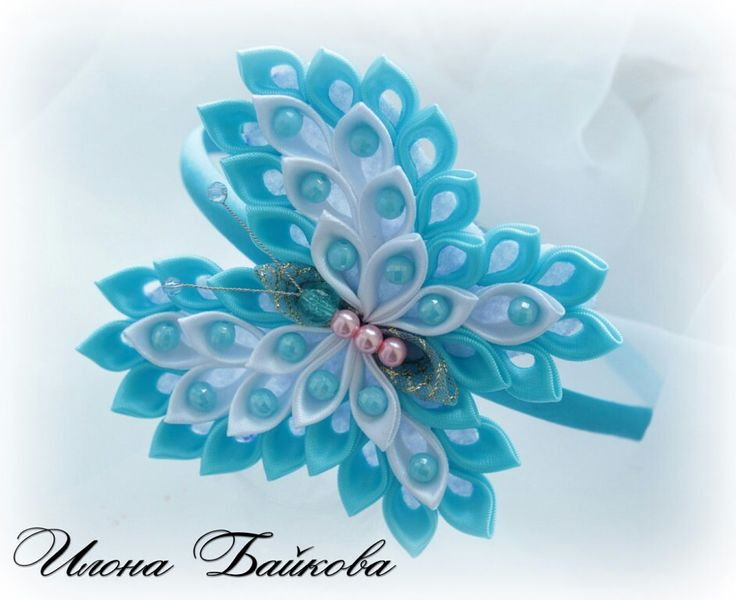.Kanzashi butterfly, it looks simple enough to make!