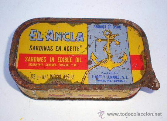 Lata conservas *EL ANCLA* 125 gr. sardinas en aceite, LLORET Y LLINARES S.L. ARRECIFE-ISLAS CANARIAS