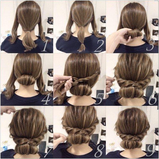 Простая прическа для волос средней длины 0
