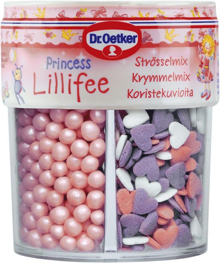 Prinsessan Lillifee strösselmix Prinsessan Lillifee är en förtrollande fé och prinsessa som lever i en rosa drömvärld. Prinsessan sprider mycket glädje omkring sig och har många vänner. Ett av hennes största intressen är att baka! Prova Prinsessan Lillifees glittrande strössel och dekorera dina bakverk med förtrollande rosa glitter, hjärtan och skimrande pärlor.