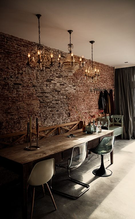 Exposed brick and chandeliers