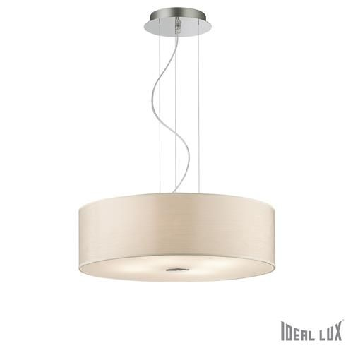 Ideal Lux 087702 Woody SP4 Polished Chrome 4 Lamp Single Pendant Ceiling Light with Wood Pattern Round Shade (Ideal Lux Lighting 087702) - discounthomelighting