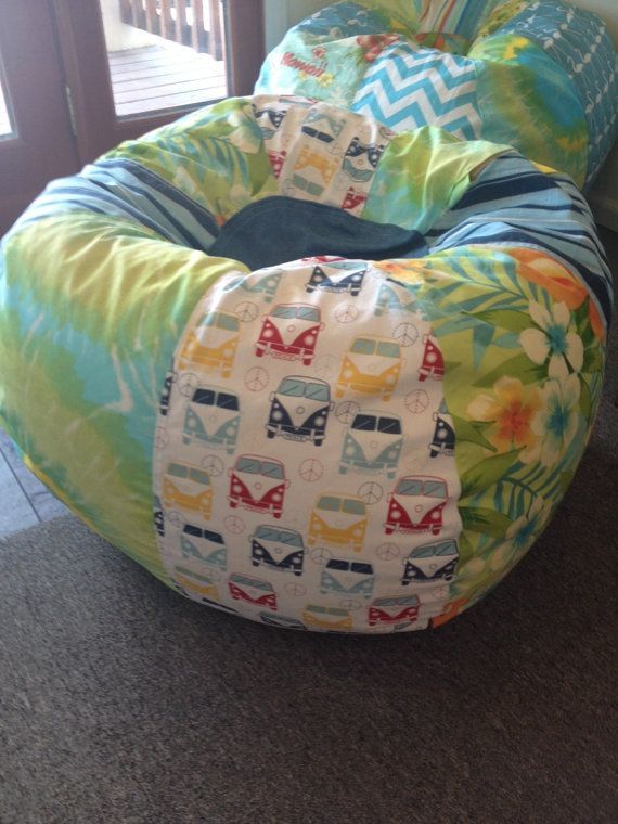Surf safari tropical bean bag chair with vw buses blue by Paniolo