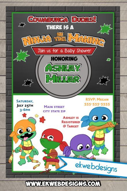 custom baby ninja turtles baby shower invitation | baby shower, Baby shower invitations