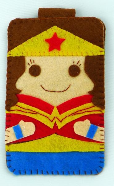 Hero collection Handmade Wonder Woman iphone, iphone 4S felt cell phone case (FREE SHIPPING). $18.00, via Etsy.