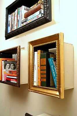 Framed boxes for book shelves.  Love idea of using frames and recessing into wall between studs,