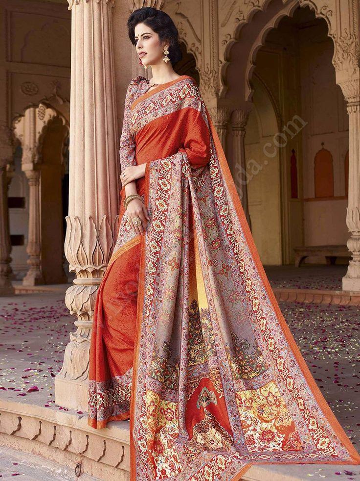 Красивое индийское сари из дизайнерского шёлка