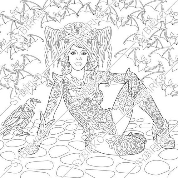 Coloring Pages Halloween Witch Gothic Girl Coloring Book For Adults Instant Download Pdf Jpg Files Printable Coloring Pages For Adults