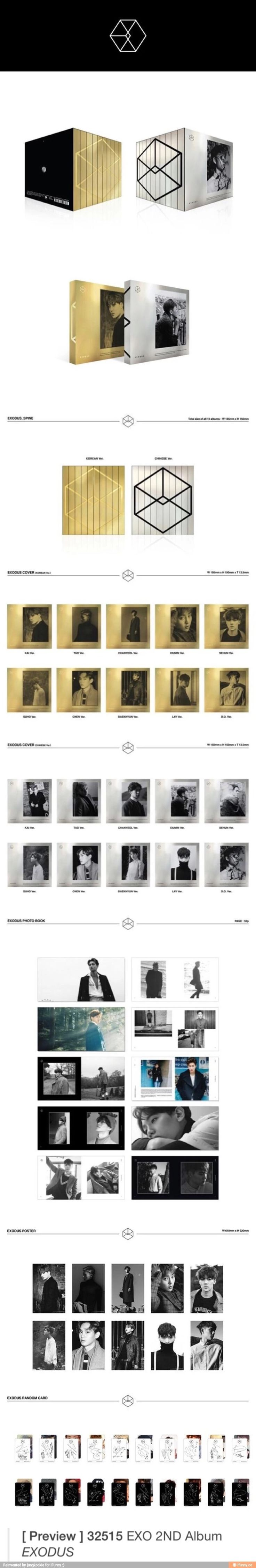 Exo's new album Exodus will come out in 20 different versions. Gold for Korean, Silver for Mandarin, and a member's picture on one for each one.