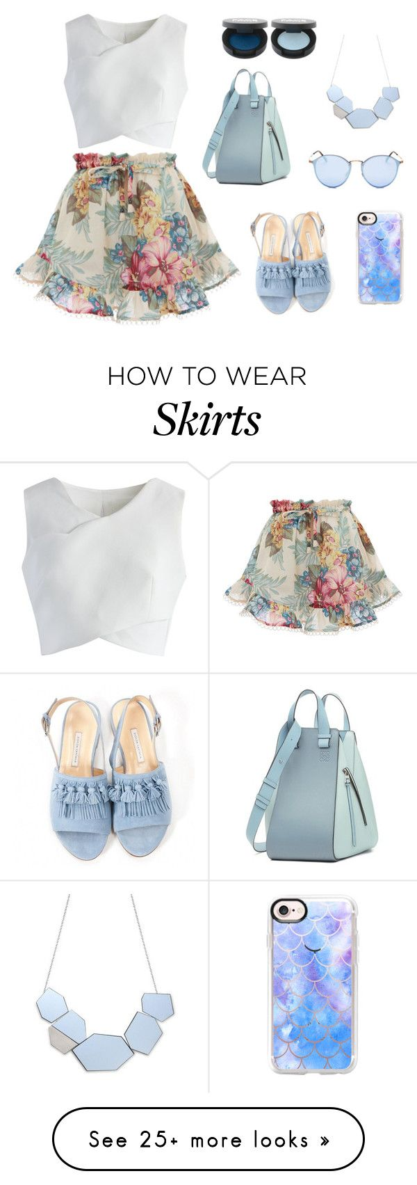 """""""summer skirt"""" by lena-topouzi on Polyvore featuring Zimmermann, Chicwish, Bionda Castana, Loewe, Casetify and Ray-Ban"""