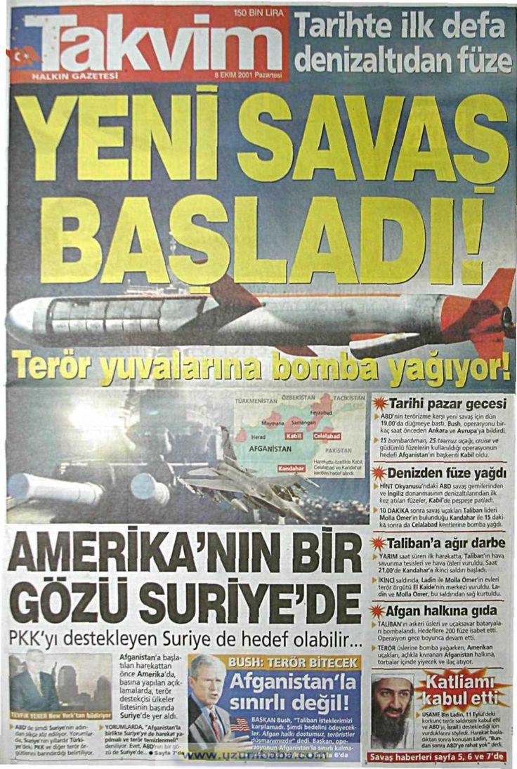 Takvim gazetesi 8 ekim 2001