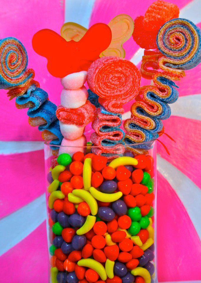 QTY 13 Sweet Stick Candy Kabob Skewers, Edible Favors Centerpiece , Candy Buffet Decor, Candy Arrangement Wedding, Mitzvah,. $43.00, via Etsy.