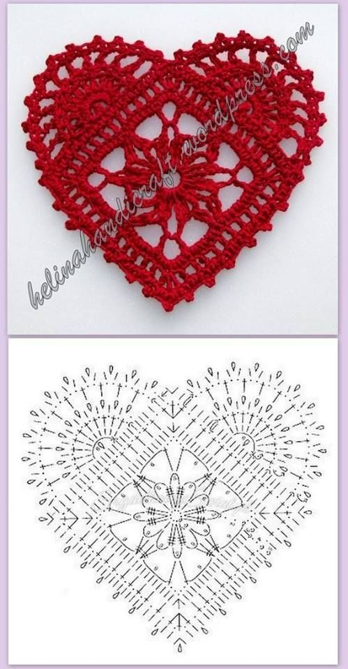 30 padrões de corações de crochê | Crochê e duas agulhas - padrões de tricô