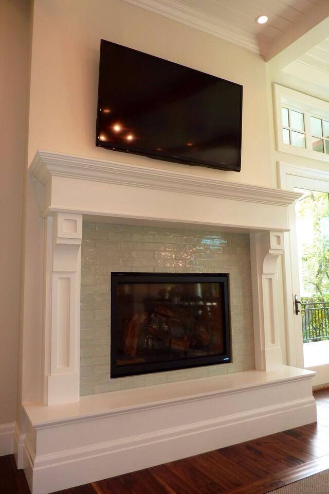 Glass Subway Tile Fireplace Surround Fireplaces Pinterest