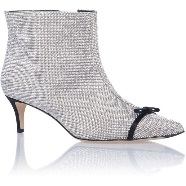 Marco de Vincenzo Crystal Kitten Heel Bootie ($1,595) ❤ liked on Polyvore featuring shoes, boots, ankle booties, silver, bow boots, kitten heel ankle boots, ankle bootie boots, ankle boots and marco de vincenzo