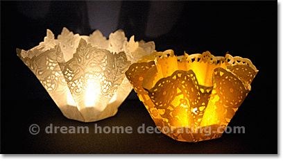 Making Paper Lanterns  out of doilies & plastic cups: Learn how to make paper lanterns for festive tables and mantelpieces!