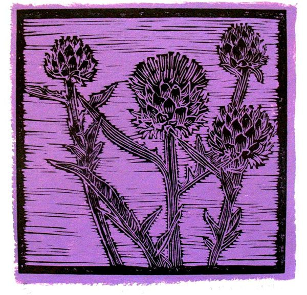 Title: Artichoke I (Purple) Medium: Linotype Edition: 3/10 Size: 200 x 200mm Artists thoughts: Artichokes are wholesome food with deeper symbolic meaning to me. The vegetable needs to be cooked well to be enjoyed. The hard outer layers need to be peeled away to get to the heart of the artichoke. God also peeles away our outer layers to get to our heart – He is interested in our hearts.