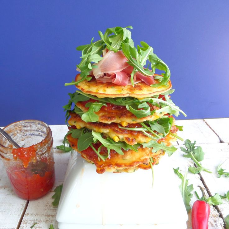 Stacked Corn Fritters with Chili Tomato Jam #acommonconnoisseur | Nom ...