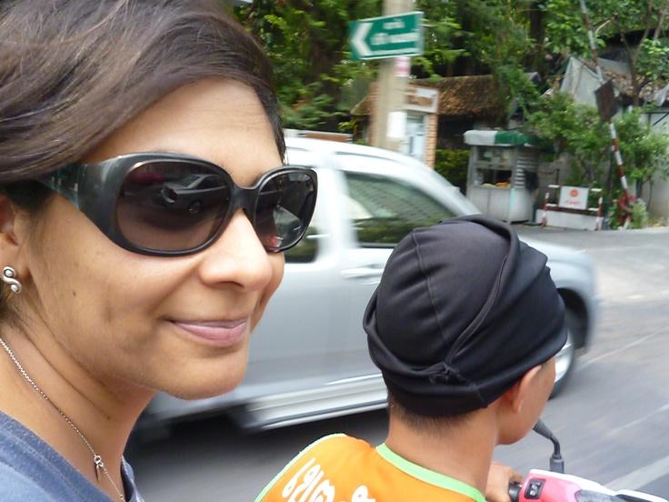 Look Ma, no helmet!   Fun alternative to being stuck in BKK traffic.