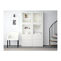 IKEA - BESTÅ, Vitrine, weiß/Selsviken Hochglanz/Klarglas weiß…