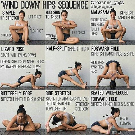 """25 Likes, 1 Comments - food_fit_ (@food_fit_easy) on Instagram: """"'WIND DOWN' HIPS SEQUENCE By: @roxanne_yoga Stretching at night can help your muscles relax and…"""" #YogaPosesandStretches"""