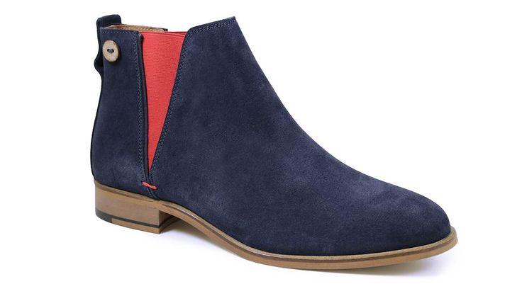 Chaussures bottines - CHERRY suede - marine carmin - profil