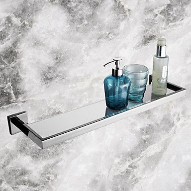 Bathroom Shelves,Contemporary Mirror Polished Finish Stainless Steel Material Glass Shelf,Bathroom Accessory - AUD $ 75.89