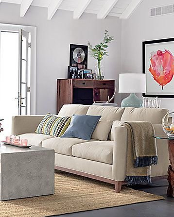 Lounge ii leather left arm sofa poppies art crate and barrel and room colors for Crate and barrel living room