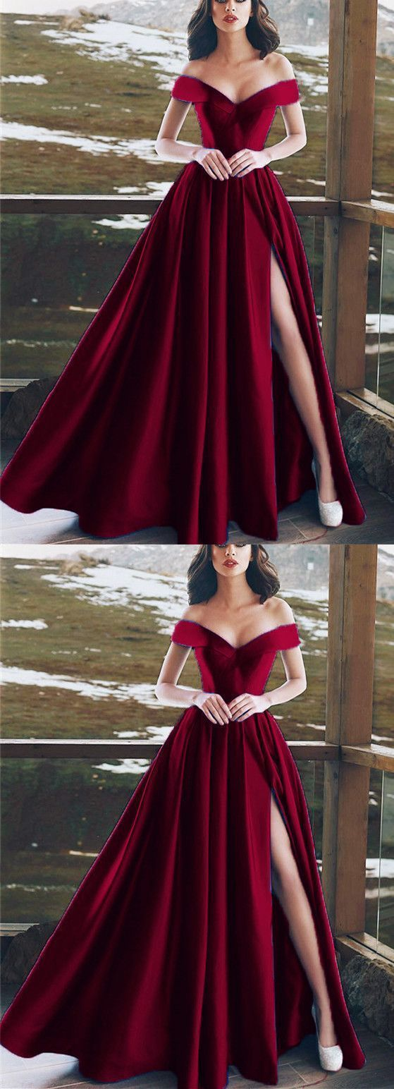 Burgundy Satin V-neck Long Prom Dresses Leg Split Evening Gowns